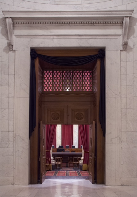 The Courtroom doors draped in black following the death of Supreme Court Associate Justice Antonin Scalia on February 13, 2016.