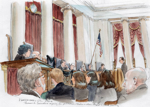 Thomas G. Saunders arguing for petitioner. Note black bunting on bench and Scalia's chair.