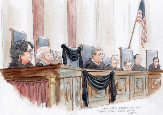 Chief Justice Roberts delivers tribute to late Justice Scalia