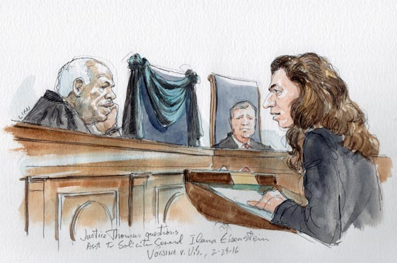 First time in ten years Justice Thomas asks question during arguments in Voisine v. US, No.14-10154 directed at Asst. to Sol. Gen. Ilana H. Eisenstein