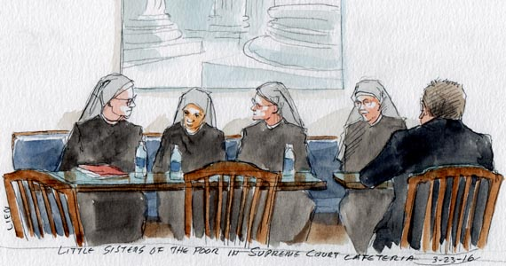 Little Sisters of the Poor in the Supreme Court cafeteria (Art Lien)