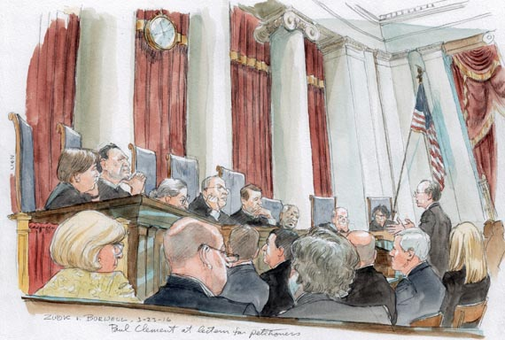 ACA contraception arguments, Paul Clement at lectern for petitioners (Art Lien)