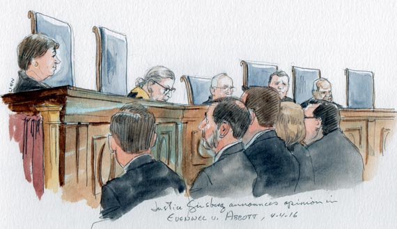 Justice Ginsburg announces opinion in One Person One Vote case. (Note: Alito and Breyer absent, Sotomayor not shown) (Art Lien)