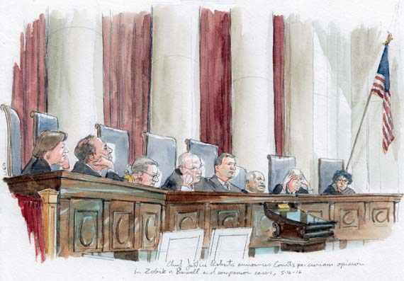 Chief Justice Roberts announces the Court's per curiam decision in Zubik v. Burwell