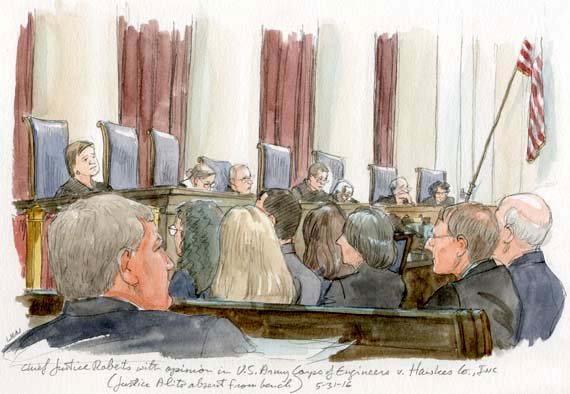 Chief Justice Roberts announces unanimous opinion in U.S. Army Corps of Engineers v. Hawkes (Justice Alito absent from bench)