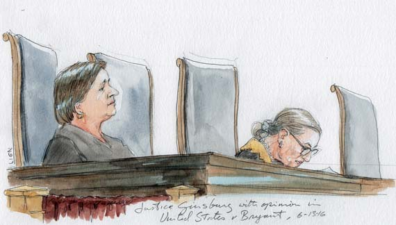 Kagan Justice Ginsburg with opinion in US v. Bryant (Kagan seated on left, Alito absent).