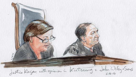 Justice Kagan with opinion in Kirtsaeng v. John Wiley & Sons