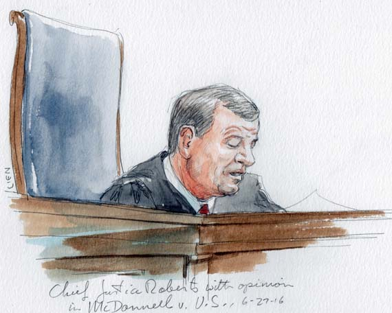 Chief Justice Roberts with opinion in McDonnell v. US
