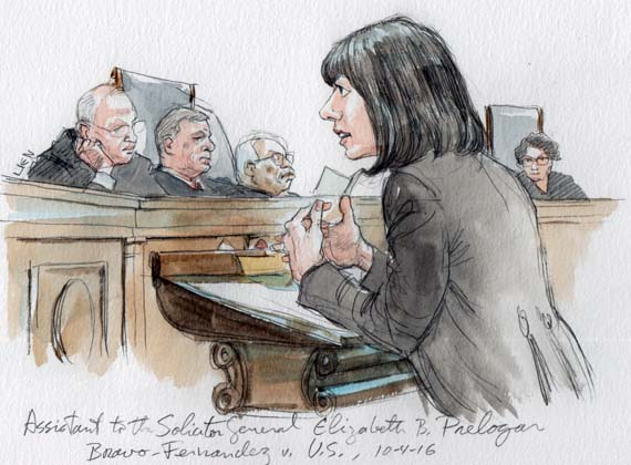 A drawing of a black-haired woman on the podium with four judges in the background