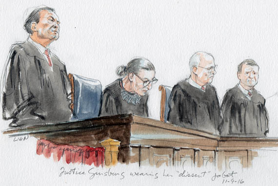 "Justice Ginsburg sporting ""dissent"" jabot?"