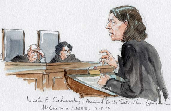 Nicole Saharsky, Assistant to the Solicitor General (arguing for the federal government in McCrory v. Harris)