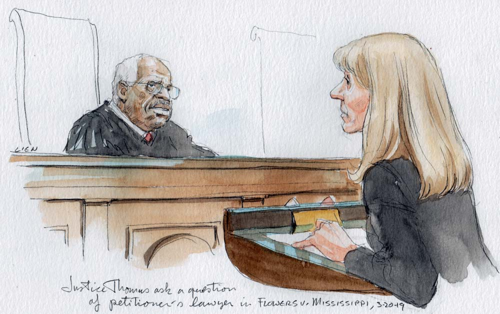 sketch of Justice Thomas in judicial robe sitting behind bench and looking at woman in dark suit standing at lectern