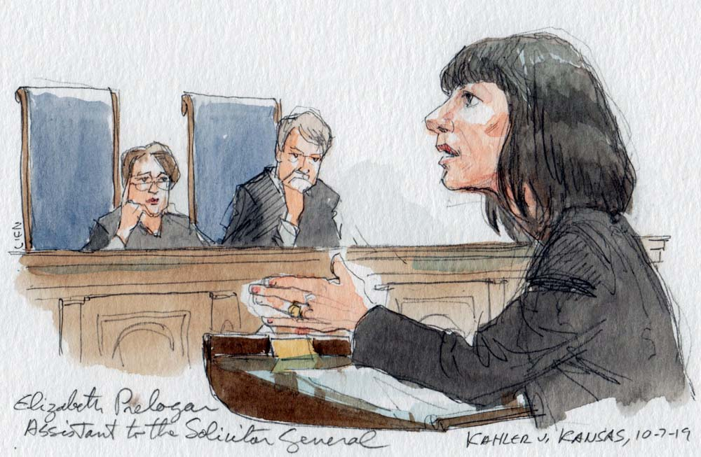 artist's sketch of woman in dark suit speaking at lectern with two justices listening in background