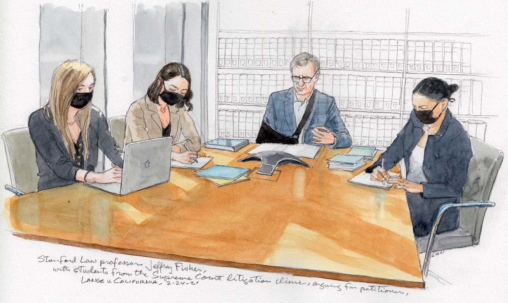 sketch of man and three women at conference table with speaker phone