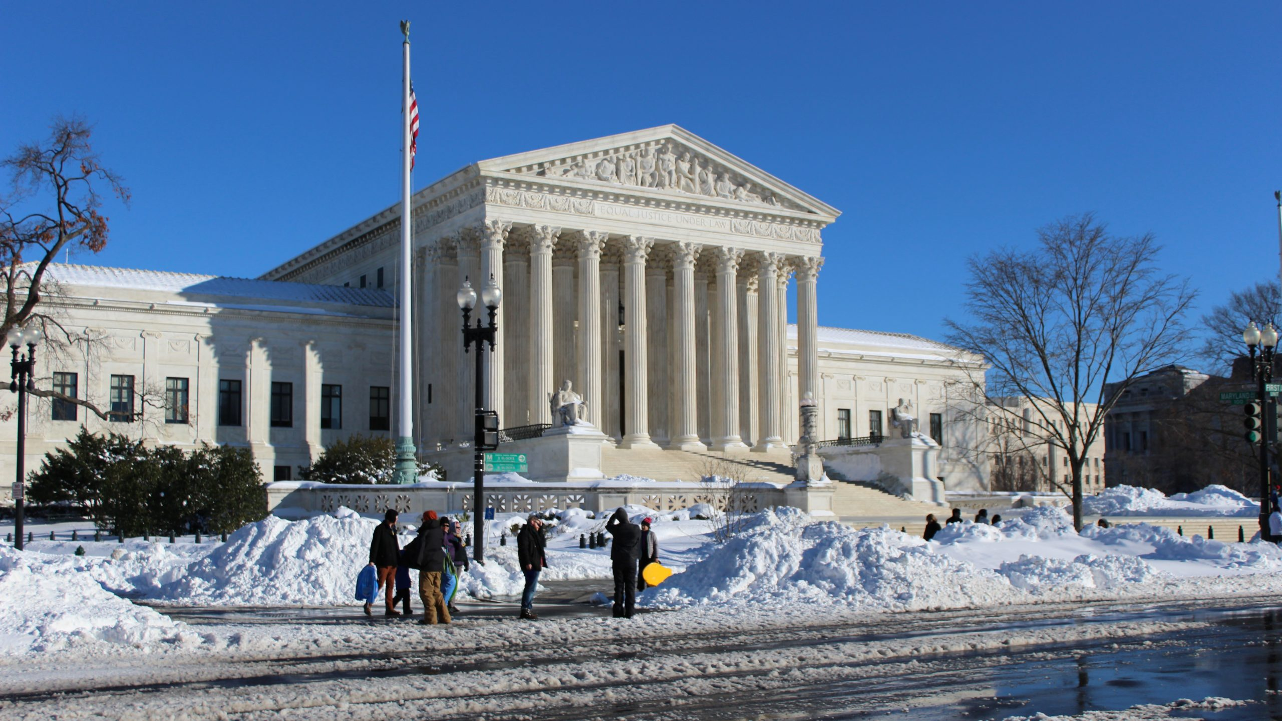 Supreme Court building after snowfall