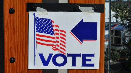 voting sign with American flag