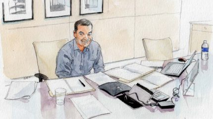 watercolor sketch of man sitting at desk with speaker phone and many sheets of paper