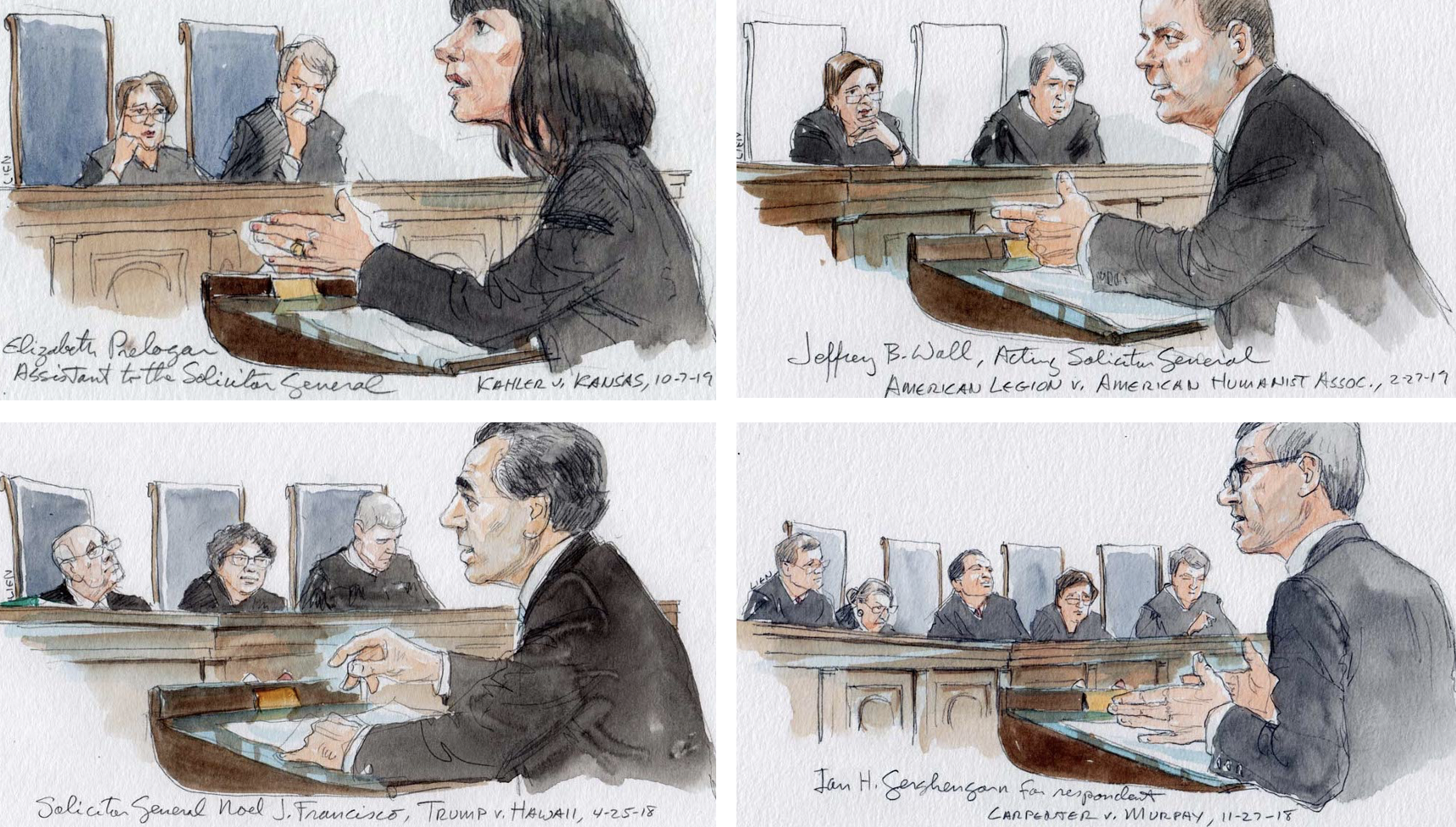 photo array showing individual sketches of one woman and three men arguing before justices