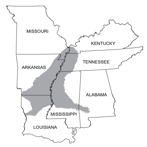نقشه ای که آبخوان را در بر می گیرد و بخش هایی از تنسی ، می سی سی پی ، لوئیزیانا و آرکانزاس را نشان می دهد