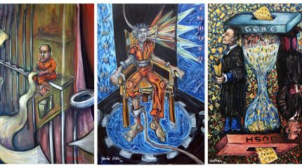 three paintings showing man in prison, man on electric chair, and large hour glass flanked by two men in robes
