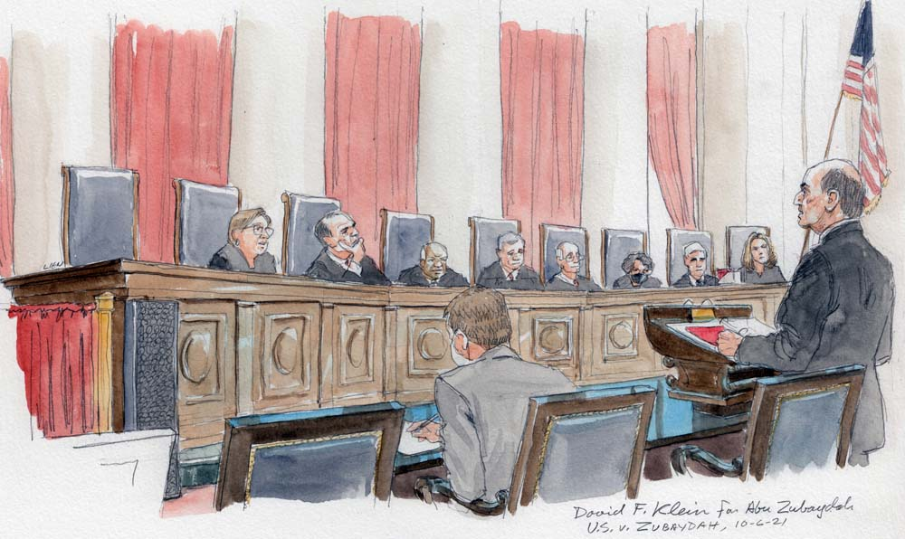 David Klien argues before eight justices on the bench.