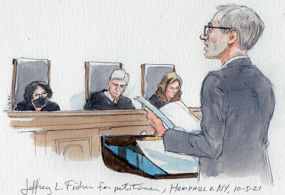 sketch of man at lectern holding papers with three justices in background